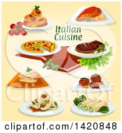 Clipart Of Italian Cuisine Royalty Free Vector Illustration by Seamartini Graphics