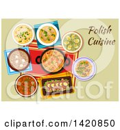 Clipart Of A Table Set With Polish Cuisine Royalty Free Vector Illustration by Seamartini Graphics