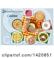 Clipart Of A Table Set With Scandinavian Cuisine Royalty Free Vector Illustration by Seamartini Graphics