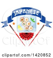 Clipart Of A Plate Of Sushi Rolls Wasabi And Lemon Slices Over A Fan And Chopsticks With A Text Banner Royalty Free Vector Illustration
