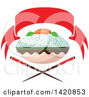 Clipart Of A Bowl Of Rice With Salmon Fish Sashimi Over Crossed Chopsticks Under A Red Banner Royalty Free Vector Illustration by Vector Tradition SM