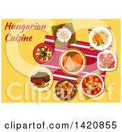 Clipart Of A Table Set With Hungarian Cuisine Royalty Free Vector Illustration