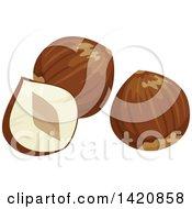 Clipart Of Hazelnuts Royalty Free Vector Illustration