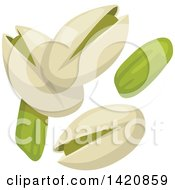 Clipart Of Pistachios Royalty Free Vector Illustration by Vector Tradition SM
