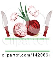 Clipart Of Knives And Red Onions With Text Space Royalty Free Vector Illustration