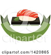 Clipart Of Sushi Over A Green Banner Royalty Free Vector Illustration