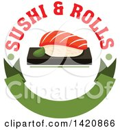 Clipart Of Sushi Over A Green Banner With Text Royalty Free Vector Illustration
