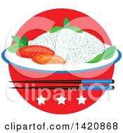 Clipart Of A Japanese Flag Steamed Rice Seafood Sashimi Chopsticks And Stars Royalty Free Vector Illustration by Seamartini Graphics
