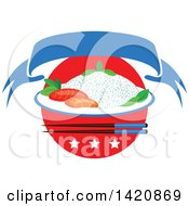 Clipart Of A Japanese Flag Steamed Rice Seafood Sashimi Chopsticks Stars And Ribbon Banner Royalty Free Vector Illustration