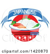 Clipart Of A Japanese Flag Steamed Rice Seafood Sashimi Chopsticks Stars And Text Ribbon Banner Royalty Free Vector Illustration