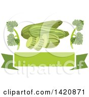 Clipart Of A Green Banner With Leaves And Zucchini Royalty Free Vector Illustration