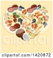 Clipart Of A Heart Made Of Wheat Seeds Nuts And Coconut Over Yellow Royalty Free Vector Illustration by Seamartini Graphics
