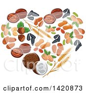 Clipart Of A Heart Made Of Wheat Seeds Nuts And Coconut Royalty Free Vector Illustration by Seamartini Graphics