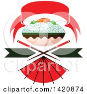 Clipart Of A Bowl Of Rice With Salmon Fish Sashimi Over Crossed Chopsticks Under A Red Banner With A Fan Royalty Free Vector Illustration