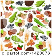 Seamless Pattern Background Of Beans Peas Seeds Wheat And Nuts