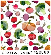 Poster, Art Print Of Seamless Pattern Background Of Vegetables