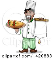 Cartoon Happy Arabian Male Chef Holding A Menu And Kebabs Rolled In Pita Bread