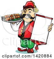 Cartoon Happy Male Turk Chef Holding A Menu And Shashlik Kebabs