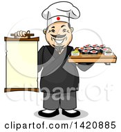 Cartoon Happy Male Japanese Chef Holding A Menu And Tray Of Sushi Rolls