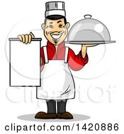 Clipart Of A Cartoon Happy Asian Male Chef Holding A Menu And Cloche Platter Royalty Free Vector Illustration