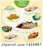 Clipart Of Jewish Cuisine Royalty Free Vector Illustration by Seamartini Graphics