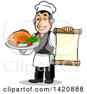 Clipart Of A Cartoon Happy Male Chef Holding A Menu And A Fish Dish Royalty Free Vector Illustration by Seamartini Graphics