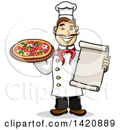 Clipart Of A Cartoon Happy Male Chef Holding A Menu And Pizza Royalty Free Vector Illustration by Vector Tradition SM