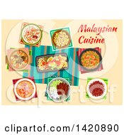 Clipart Of A Table Of Malaysian Cuisine Royalty Free Vector Illustration