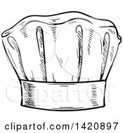Black And White Sketched Chef Toque Hat