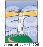 Path Leading To A White Lighthouse With A Bright Beacon Clipart Illustration by Rasmussen Images #COLLC14209-0030