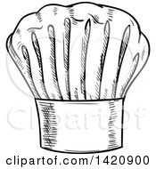 Clipart Of A Black And White Sketched Chef Toque Hat Royalty Free Vector Illustration by Seamartini Graphics