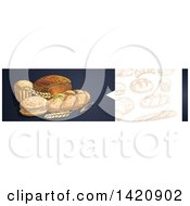 Clipart Of A Website Header Banner Of Sketched Breads And Baked Goods Royalty Free Vector Illustration