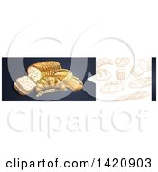 Clipart Of A Website Header Banner Of Sketched Breads And Baked Goods Royalty Free Vector Illustration by Vector Tradition SM