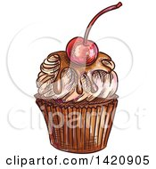 Clipart Of A Sketched And Color Filled Cupcake Garnished With A Cherry Royalty Free Vector Illustration by Seamartini Graphics