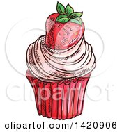 Clipart Of A Sketched And Color Filled Cupcake Garnished With A Strawberry Royalty Free Vector Illustration by Vector Tradition SM