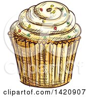 Clipart Of A Sketched And Color Filled Cupcake Garnished With Sprinkles Royalty Free Vector Illustration by Vector Tradition SM