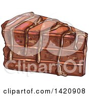 Clipart Of A Sketched Slice Of Layered Chocolate Cake Royalty Free Vector Illustration