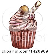 Clipart Of A Sketched And Color Filled Cupcake Garnished With Candy Royalty Free Vector Illustration by Vector Tradition SM