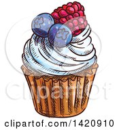 Clipart Of A Sketched And Color Filled Cupcake Garnished With Berries Royalty Free Vector Illustration