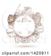 Clipart Of A Sketched Circular Frame With Cakes Waffles And Cupcakes With A Shadow Royalty Free Vector Illustration by Seamartini Graphics