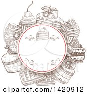 Clipart Of A Sketched Circular Frame With Cakes Waffles And Cupcakes Royalty Free Vector Illustration by Vector Tradition SM