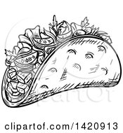Fast Food Clipart Of A Black And White Sketched Doner Kebab Royalty Free Vector Illustration by Vector Tradition SM