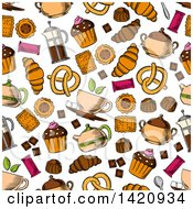 Seamless Pattern Background Of Baked Sweets