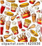 Seamless Pattern Background Of Fast Food