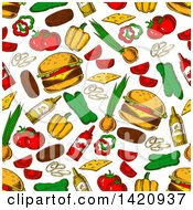 Seamless Pattern Background Of Cheeseburgers And Ingredients
