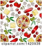 Clipart Of A Seamless Pattern Background Of Pizza And Toppings Royalty Free Vector Illustration