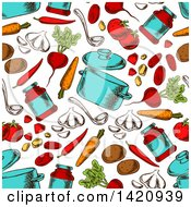 Seamless Pattern Background Of Soup Pots And Ingredients