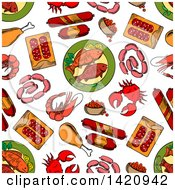 Seamless Pattern Background Of Seafood And Meat