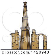 Clipart Of A India Landmark Minaret Qutub Minar Royalty Free Vector Illustration by Vector Tradition SM