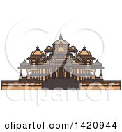 Clipart Of A India Landmark Swaminarayan Akshardham Temple Complex Royalty Free Vector Illustration by Vector Tradition SM